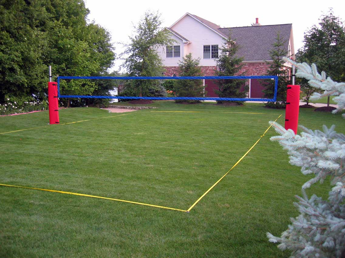 how to build volleyball poles and place in ground
